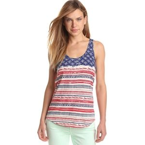 Lucky Brand Red White & Blue Beaded Tank Top